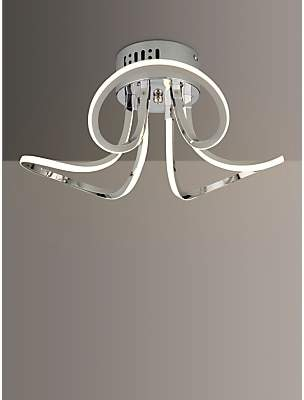 44c2a252a131 John Lewis & Partners Ora Semi Flush LED Ceiling Light, Silver/Metallic
