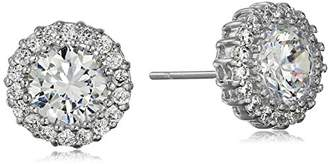 Cara Round with Pave Surround Stud Earrings