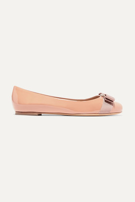 Salvatore Ferragamo Varina Bow-detailed Patent-leather Ballet Flats - Blush