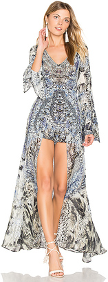 Camilla V Neck Romper with Overlay in Blue $570 thestylecure.com