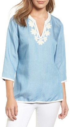 Women's Tommy Bahama All Day Embroidery Chambray Tunic $138 thestylecure.com