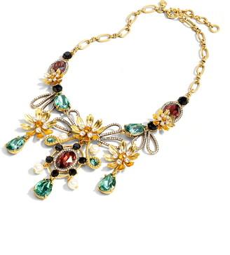J.Crew Baroque Floral Mixed Gem Statement Necklace
