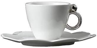 Prouna Geometrica Silver Espresso Cup & Saucer