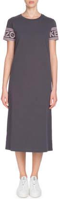 Kenzo Sport Cotton Crewneck Logo-Sleeve Tee Dress