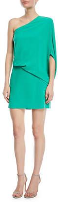Halston One-Sleeve Draped Cocktail Dress