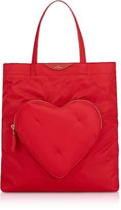 Anya Hindmarch Red Nylon Chubby Heart Tote Bag