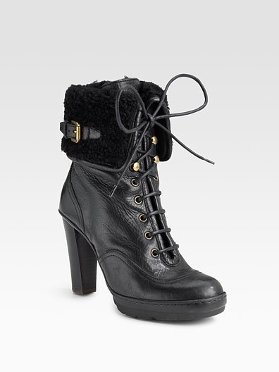 Ralph Lauren Collection Forley Distressed Leather Lace-Up Ankle Boots
