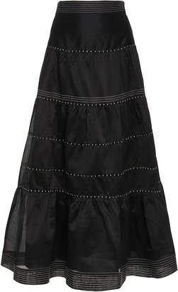 Ulla Johnson Margot Tiered Cotton-Silk Blend Midi Skirt Size: 2
