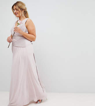 TFNC Plus Bow Back Maxi Bridesmaid Dress With Front Pleats