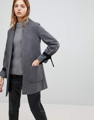 Helene Berman Wool Blend Notch Collar Coat with Tie Cuffs