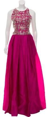 Naeem Khan Silk Beaded Evening Dress w/ Tags