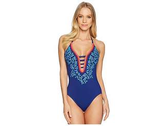 LaBlanca La Blanca Leaf It To Me Keyhole Halter Mio One-Piece