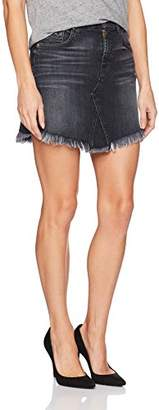 7 For All Mankind Women's Mini Skirt with Scallop Raw Hem