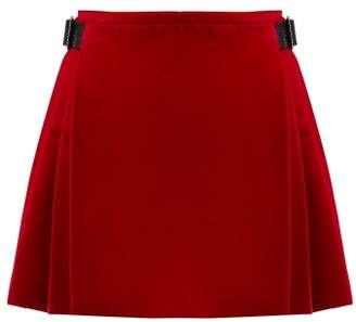 Christopher Kane Crystal Embellished Cotton Blend Velvet Skirt - Womens - Red
