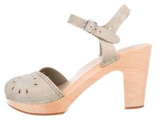 Swedish Hasbeens Suede Ankle-Strap Sandals