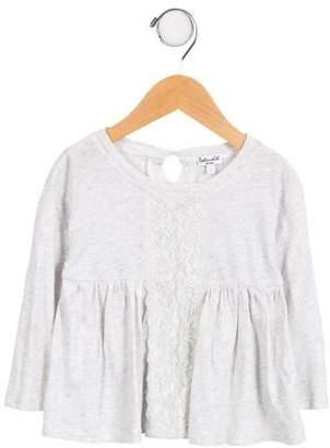 Splendid Girls' Lace-Trimmed Long Sleeve Top