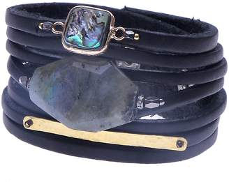 Nakamol Design Leather & Stone Wrap Bracelet
