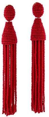 Oscar de la Renta Long Tassel Drop Clip-On Earrings