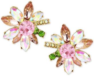 Betsey Johnson Gold-Tone Multi-Crystal Flower Stud Earrings