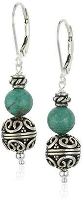 Sterling Silver Stabilized Chinese With Intricate Beads Drop Earrings