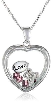 Glass Heart Sterling Silver Crystal 'Love' Looking Sentiment Necklace