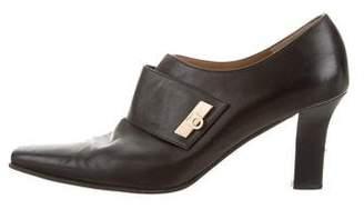 Salvatore Ferragamo Square-Toe Leather Booties