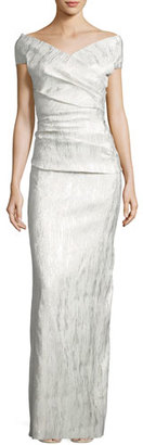Rickie Freeman for Teri Jon Off-the-Shoulder Ruched Jacquard Column Gown, Champagne $740 thestylecure.com
