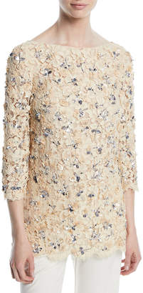 Michael Kors 3/4-Sleeve Bateau-Neck Lace Blouse with Rose Embroidery & Sequins
