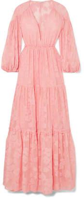 Ulla Johnson Margaux Fil Coupé Silk And Cotton-blend Chiffon Maxi Dress - Blush