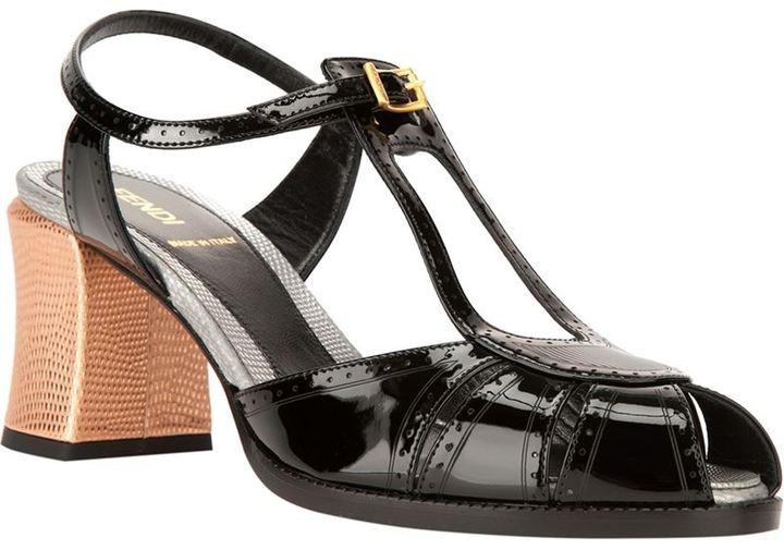 Fendi brogue detail t-bar sandal