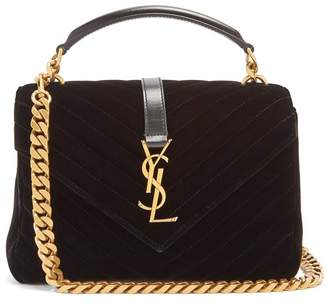 Saint Laurent Collège medium quilted-velvet cross-body bag