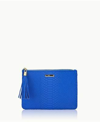 GiGi New York All In One Bag In Bright Blue Embossed Python