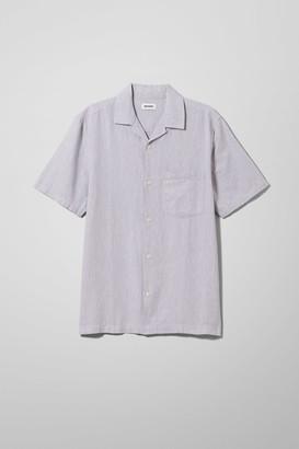 Weekday Chill Striped Short Sleeve Shirt - Beige