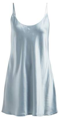 La Perla Semplice Scoop Neck Silk Satin Slip - Womens - Light Blue
