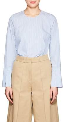 Barneys New York Women's Frayed-Hem Striped Cotton Poplin Shirt