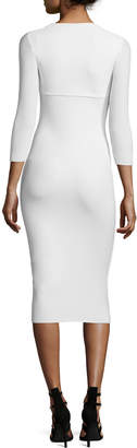 Chiara Boni Custom Collection: Serenity 3/4-Sleeve Body-Conscious Dress