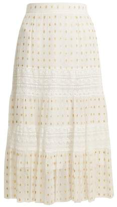 Temperley London Wondering Lace Insert Fil Coupe Chiffon Midi Skirt - Womens - White