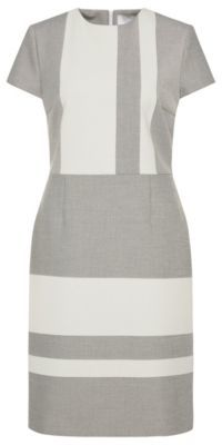 Hugo Boss Hermley Twill Colorblock A-Line Dress 8 Patterned $575 thestylecure.com