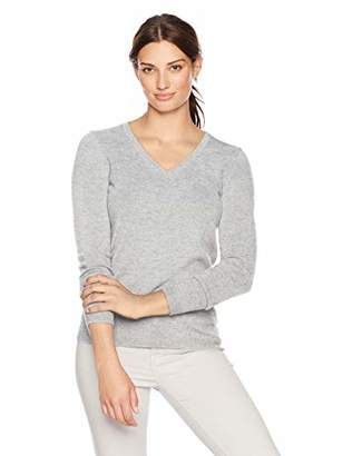 Lark & Ro Women's 100% Cashmere V-Neck Pullover Sweater