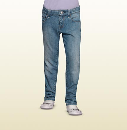 Gucci Five Pocket Skinny Jean With Signature Strass On Back.