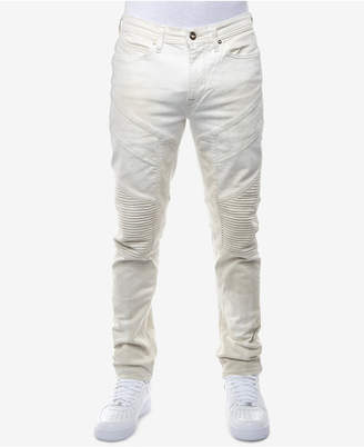 Sean John Men's Slim-Straight Fit Stretch Moto Jeans, Created for Macy's