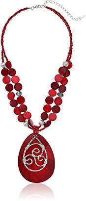 Amazon Collection Fashion Two-Row Mixed Bead Shell Frontal Statement Pendant Necklace