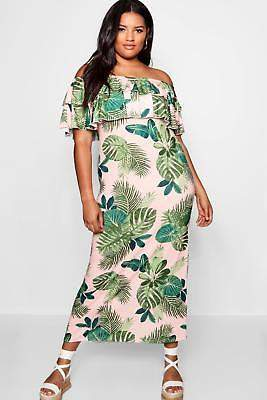boohoo NEW Womens Plus Palm Print Off Shoulder Maxi Dress in Polyester