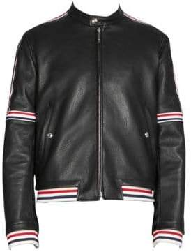 Thom Browne Elastic Stripe Seamed Leather Jacket