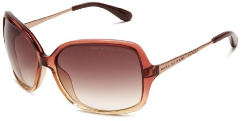 Marc by Marc Jacobs Women's MMJ 218/S 0YQZ Rectangle Sunglasses,Burgundy Beige Red Frame/Brown Gradient Lens,One Size