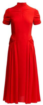 Emilia Wickstead Ariane High Neck Crepe Midi Dress - Womens - Red