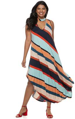 Wrapper Juniors' Plus Size Stripped Halter Maxi Dress