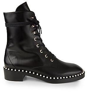 Stuart Weitzman Women's Sondra Faux Pearl Leather Combat Boots