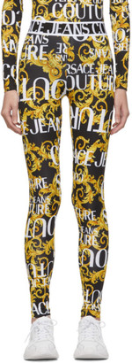 Versace Black and Yellow Logo Barocco Leggings