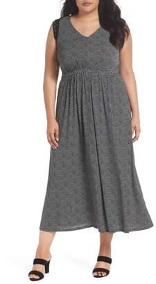 Gabby Skye Lace Trim Polka Dot Maxi Dress
